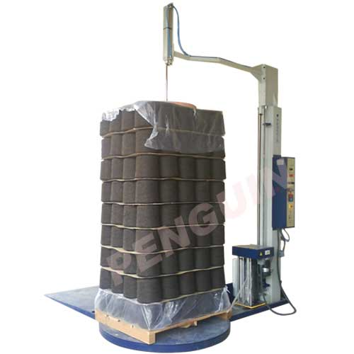 Pallet wrapper with pneumatic hold at top